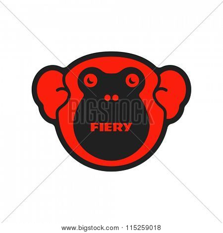 Fiery monkey. Vector illustration.