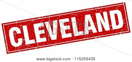Cleveland red square grunge vintage isolated stamp
