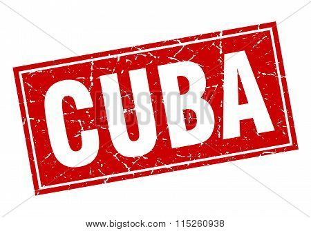 Cuba red square grunge vintage isolated stamp