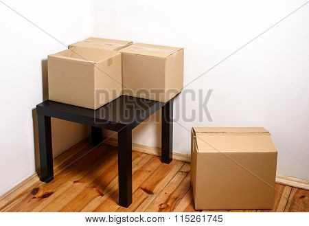 Moving Day - Cardboard Boxes In Room