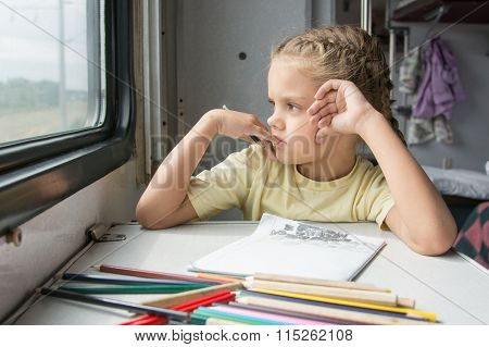 The Girl Looked Out The Window Thinking Drawing Pencils In A Train