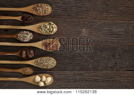 Spoon filled with assorted spices