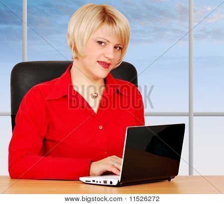 beauty woman with laptop