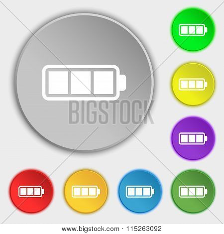 Battery Fully Charged Icon Sign. Symbol On Eight Flat Buttons.