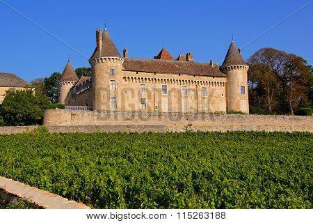 Castle in the vineyards of Burgundy, France