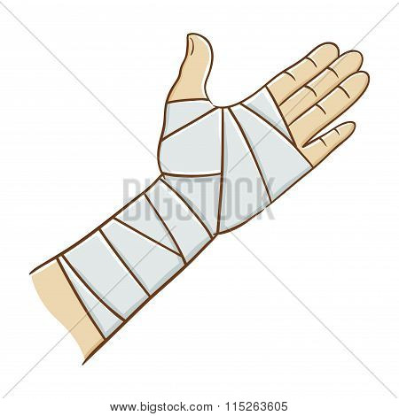 Injured Hand Wrapped In Elastic Bandage Vector Illustration