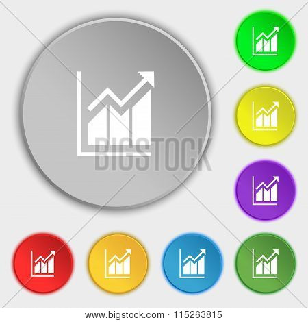 Growing Bar Chart Icon Sign. Symbol On Eight Flat