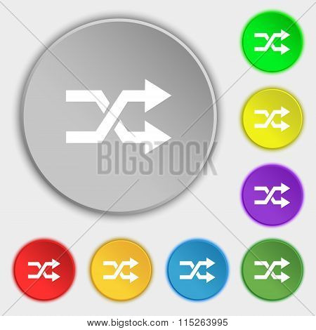 Shuffle Icon Sign. Symbol On Eight Flat