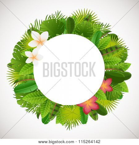 Tropical leaves frame. Floral jungle design background. Palm, banana, , monstera, strelitzia leaves and frangipany flowers.