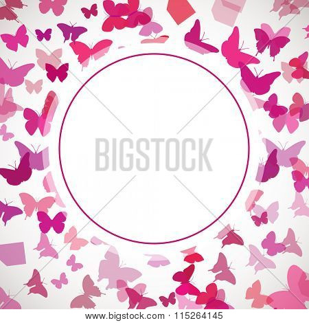 Abstract Butterfly Background. Vector illustration of pink butterflies. Circle place for text on butterflies background