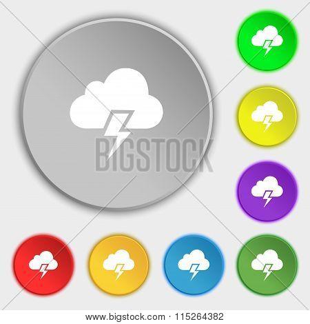 Heavy Thunderstorm Icon Sign. Symbol On Eight Flat