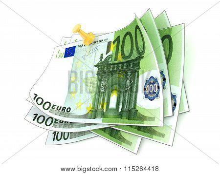 Pinned one hundred euros bills on white background. 3D