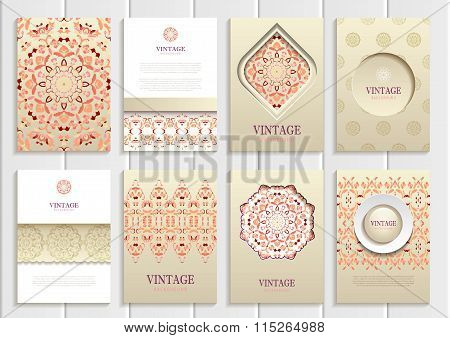 Light orange frames, ornaments, patterns and golden backgrounds