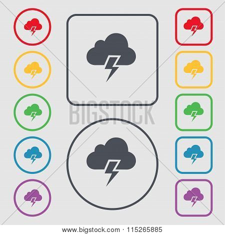 Heavy Thunderstorm Icon Sign. Symbol On The Round And Square Buttons With Frame.