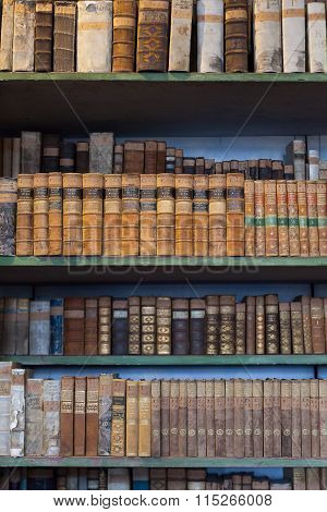 Historic Old Book In Library, Wooden Bookshelf