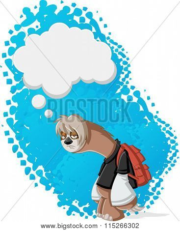 Lazy cartoon sloths thinking. Bored teenager with backpack.