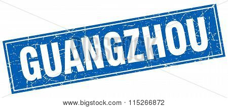 Guangzhou blue square grunge vintage isolated stamp