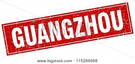 Guangzhou red square grunge vintage isolated stamp