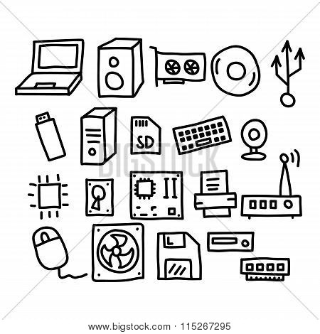 Computers And Accessories Doodles Icon.vector Illustration.