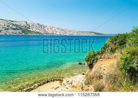 The Crystal Clear Sea Surrounding The Island Of Rab, Croatia.