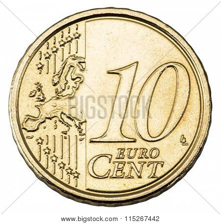 Old 10 cents euro coin isolated on a white background. File contains clipping paths.