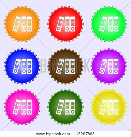Binders  Icon Sign. A Set Of Nine Different Colored Labels.
