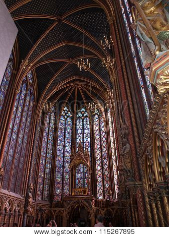 PARIS, FRANCE - SEPTEMBER 8, 2014: Paris - Interiors of the Sainte-Chapelle (Holy Chapel). The Sainte-Chapelle is a royal medieval Gothic chapel in Paris and one of the most famous monuments of the city