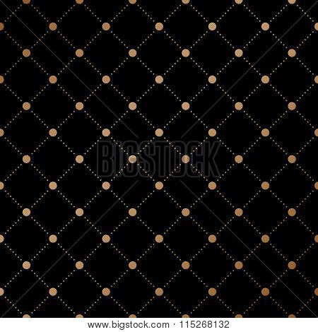 Gold Veil Seamless Pattern On Black Background. Vector Illustration.