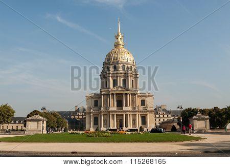 PARIS, FRANCE - SEPTEMBER 9, 2014:View of Dome des Invalides burial site of Napoleon Bonaparte Paris France