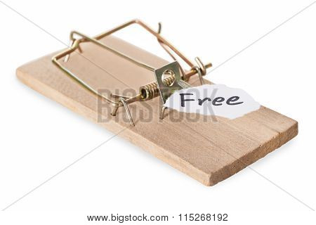 Closeup Of Mousetrap With Free Sign