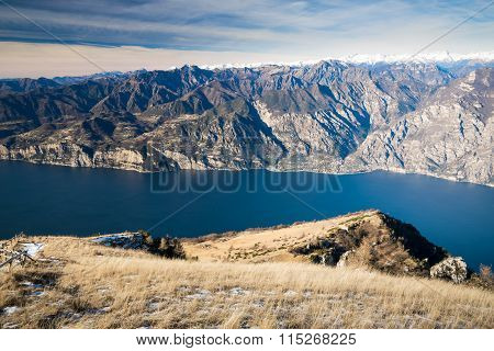 Panorama Of Lake Garda Seen From The Top Of Mount Baldo, Italy.