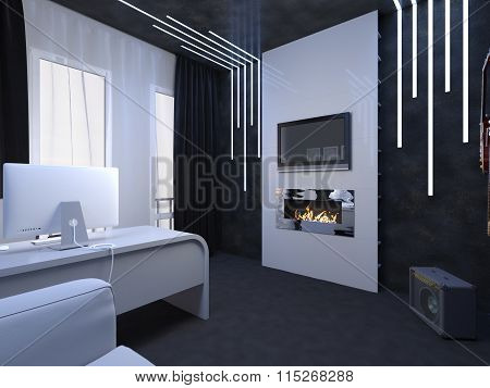 3D Illustration Of Interior Design Of An Office Fate Of The Guitarist
