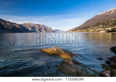 Panorama Of Lake Garda (italy) Near The Town Of Malcesine.
