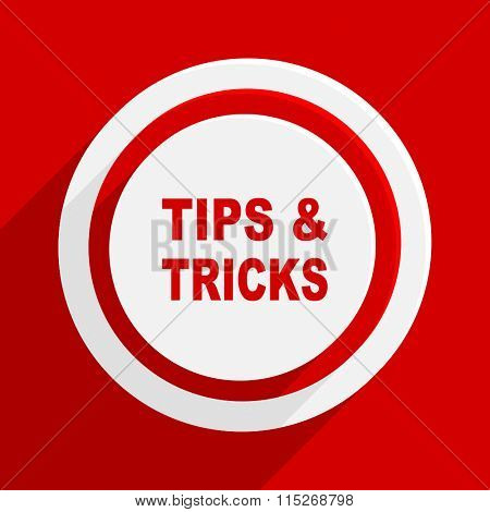 tips tricks red vector flat icon