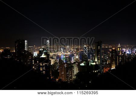 Night view from The Victoria peak in Hong Kong