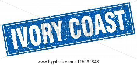 Ivory Coast blue square grunge vintage isolated stamp