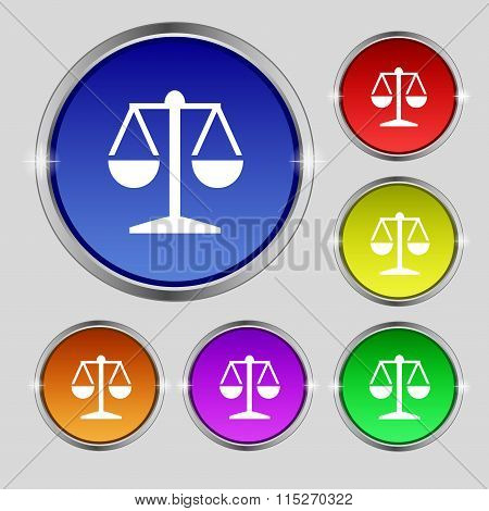 Libra Icon Sign. Round Symbol On Bright Colourful Buttons.