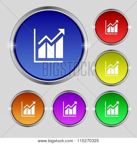 Growing Bar Chart Icon Sign. Round Symbol On Bright Colourful Buttons.