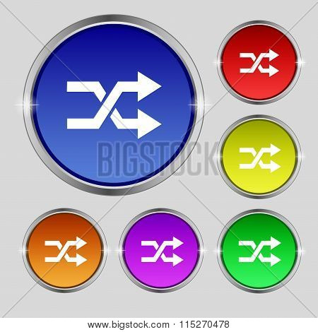 Shuffle Icon Sign. Round Symbol On Bright Colourful