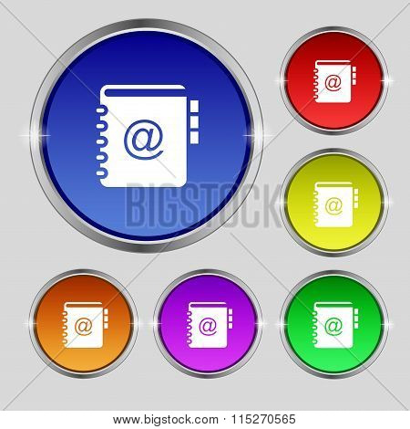 Notebook, Address, Phone Book Icon Sign. Round Symbol On Bright Colourful