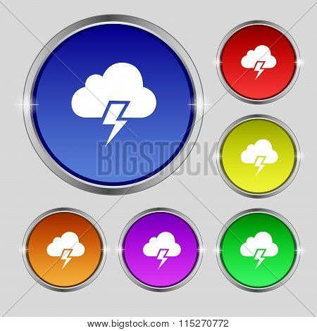 Heavy Thunderstorm Icon Sign. Round Symbol On Bright Colourful