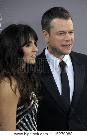 LOS ANGELES - JAN 17:  Matt Damon at the 21st Annual Critics Choice Awards at the Barker Hanger on January 17, 2016 in Santa Monica, CA