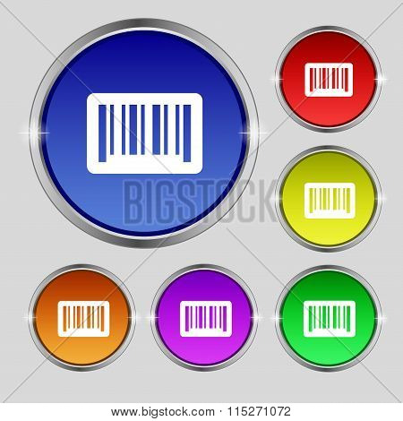 Barcode Icon Sign. Round Symbol On Bright Colourful Buttons.