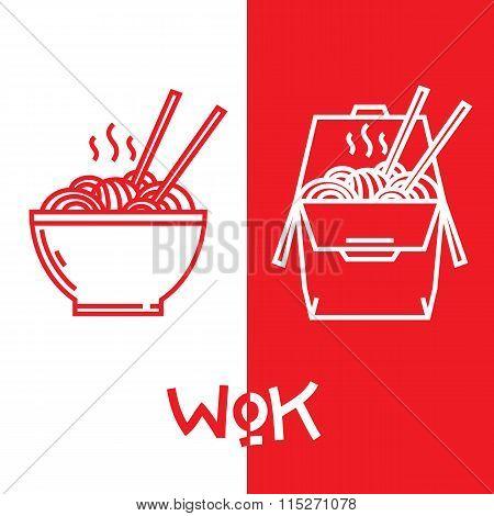 Wok noodles graphic vector illustrations