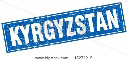 Kyrgyzstan blue square grunge vintage isolated stamp