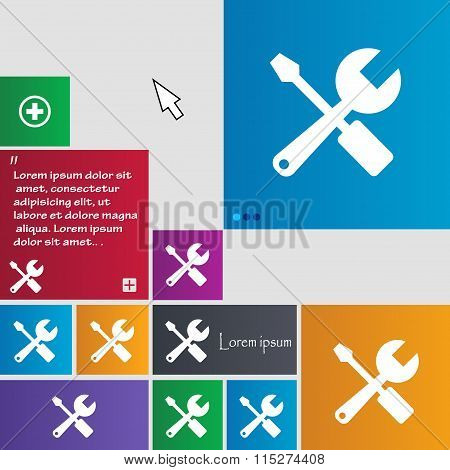 Wrench And Screwdriver Icon Sign. Buttons. Modern Interface Website Buttons With Cursor Pointer.