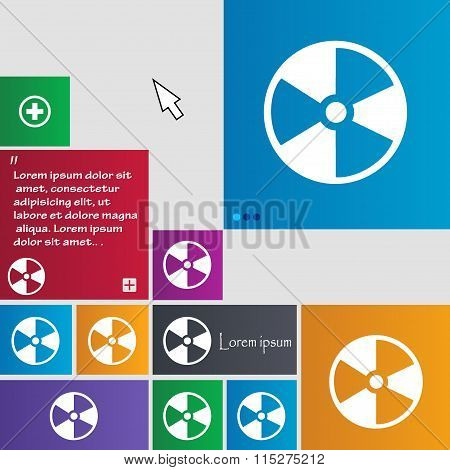 Radioactive Icon Sign. Buttons. Modern Interface Website Buttons With Cursor Pointer.