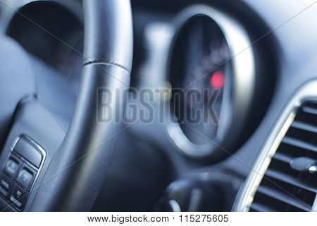 Car Steering Wheel And Instrument Cluster