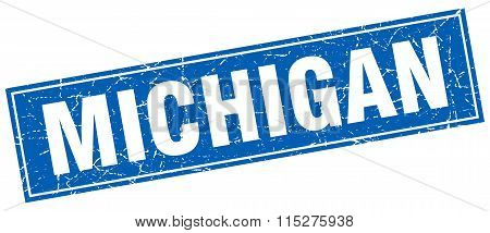 Michigan blue square grunge vintage isolated stamp