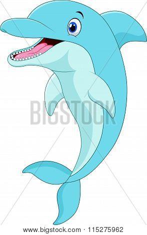 Cartoon funny dolphin jumping